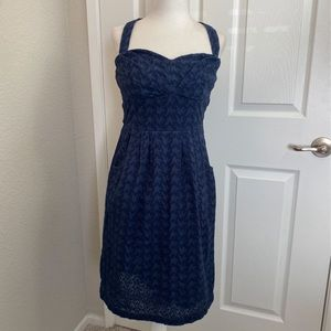 Anthro Girls From Savoy. Navy Eyelet Dress. 4